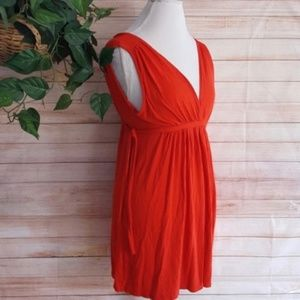 Zara Red V-Neck Dress Sleeveless Stretch Pull On L